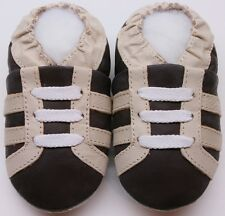minishoezoo soft sole leather baby shoes toddlers sport boots brown 24-36m
