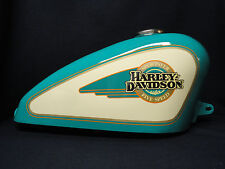 NOS OEM Harley Davidson Sportster Fuel Gas Tank 1990 ish Turquoise w/ Cream S1