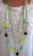 Tassel Necklace Lime Green White Three Layers Tassels Pearl Beads Beach LAST 1