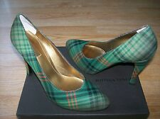 Bottega Veneta Shoes Pumps Plaid Fabric Green sz 39.5 US 9 NIB