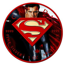 2016 1 OZ OUNCE SILVER SUPERMAN .9999 24K GOLD GILDED COLORIZED COA RED COIN