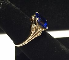Vtg 10k Yellow Gold & Blue Stone RING Size 5.75 Ornate Mount