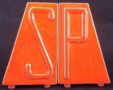 Vintage Orange Ceramic 1950s Midcentury Modern Pyramid Salt Pepper Shaker Set