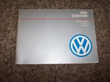 1989 Volkswagen VW Cabriolet Owner Owner's User Guide Manual RARE ORIGINAL