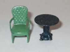 1920's CRACKER JACK METAL DECORATED TABLE GREEN FORMAL CHAIR PREMIUM (2) PRIZES