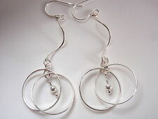 Double Right Angle Hang Circles with Dangling Ball Earrings 925 Sterling Silver