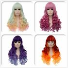 Womens sexy long fluffy gradient wavy curly hair bang cosplay cos wig Wigs cap