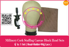 NEW Cosmetology Millinery/Hat Cork Canvas Block Head Making Lace Wigs Toupee-D