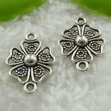 Free Ship 280 pieces tibet silver flower connector 21x15mm #1157