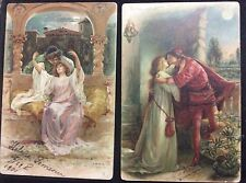 2 postcards Romeo and Juliet, balcony kissing scenes,  1901 undivided, used