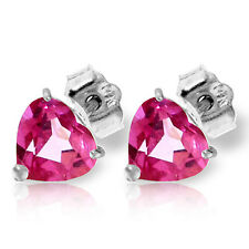 3.25 CTW 14K Solid White Gold Stud Earrings Natural Pink Topaz