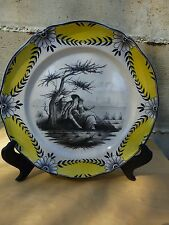 Superb Antique French hand painted plate, ca. 1850, marked S.X. [Y7-W6-A9-E8]