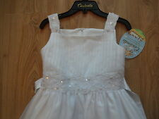GIRLS DESIGNER CINDERELLA WHITE DRESS AGE 12 10-11-12 HOLY COMMUNION FLOWER NEW