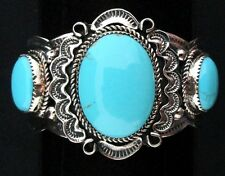 Navajo Silver and Turquoise Bracelet/Cuff Native American Signed *852
