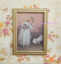 Girl And Cats 1:12 Dollhouse Miniature Picture OM007