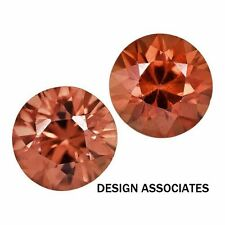 2.5 MM ROUND CUT RED ZIRCON ALL NATURAL AAA 2 PC SET