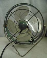 Electric Fan Table Top Metal VINTAGE Green & Silver Parts & Repairs Swivel Base