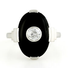 Art deco platinum Onyx Old European diamond Ring 6.25