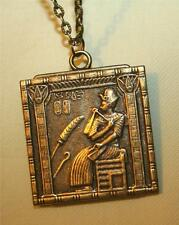 Striking Etch Detailed Sitting Pharoh Egyptian Square Brasstone Pendant Necklace