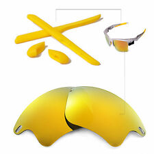 New WL Polarized 24K Gold Lenses And Rubber Kit For Oakley Fast Jacket  XL