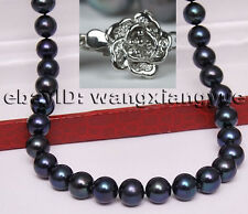 "8-9mm Genuine Natural Black akoya pearl Flower Clasp necklace 18"" Hand Knotted"