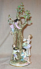 Early Meissen Figural Group Woman and Children Picking Apples Crossed Swords Mrk