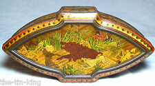 "RARE HUNTLEY&PALMERS ""MARQUETRY"" EARLY FIGURAL CASKET BISCUIT TIN C1898"