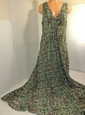 ~~WONDERFUL!!~~ Derek Lam Green & Brown Sleeveless Maxi Dress Sz XL #1773