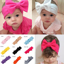 Toddler Girls Kids Baby Big Bow Headband Stretch Turban Knot Head Wrap  Hot Pink