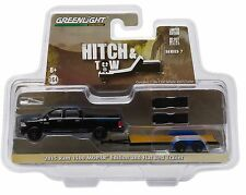 1:64 GreenLight *HITCH & TOW 7* Black 2015 Dodge RAM MOPAR w/Flatbed Car Trailer