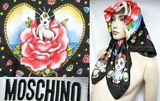 ITALY Moschino Cheap Chic Happy Lucky Droll Silk 34x34 Women Scarf Wrap Shawl
