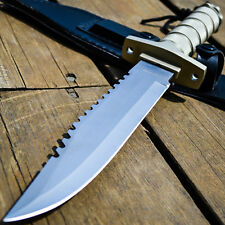 "12"" TACTICAL SURVIVAL Rambo Hunting FIXED BLADE KNIFE Army Bowie w/ SHEATH"
