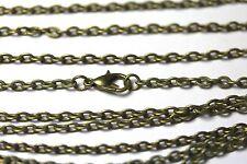 Wholesale 11 Pcs Antique Bronze Flat Cable Chains 24 Inch Necklace Lot