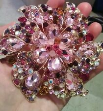 "MULTI-COLOR 4.5"" big Colorful flower Crystal Brooch/Pin,pink red"