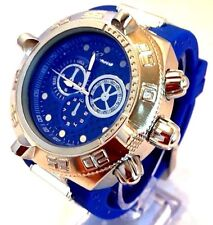 Men's Oversize Fashion Watch Geneva Mc41513 Blue Silicone Band Blue Dial