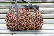 NWT Bag by Liz Claiborne retails $39 Brown and Maroon Tapestry with Faux Leather