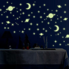 Creative Star of The World Moon Luminous Fluorescent PVC Wall Stickers Decor HOT