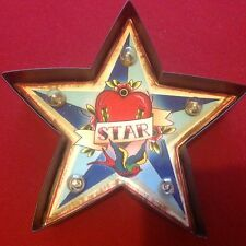 SMALL RETRO STAR LIGHT UP CARNIVAL MARQUEE CIRCUS SIGN WALL ART LIGHT LED TATTOO