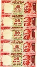 LOT India, 5 x 20 Rupees, 2013, P-New, UNC   Gandhi