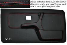 RED STITCH 2X FRONT FULL DOOR CARD SKIN COVERS FITS BMW 3 SERIES E30 COUPE