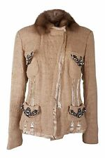 *ROBERTO CAVALLI* WOOL BLEND FUR COLLAR JACKET (44)