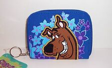 SCOOBY DOO Blue & Purple Flowers Zippered WALLET Coin Purse Card Case Tote NEW!