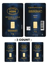 Lot of 3 - 1 gram Istanbul Gold Refinery (IGR) Bar .9999 Fine (In Assay Card)