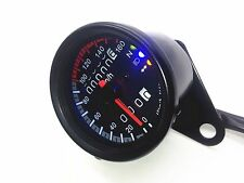 Black LED Backlight Signal Motorcycle Odometer KMH Speedometer Gauge Cafe Racer