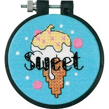 Cross Stitch Kit SWEET ICE CREAM Ornament; Wall Hanging