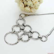 Antique Silver Retro Style Hollow Rings Alloy Bib Necklace Jewelry A1289b