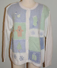 Ugly Christmas Sweater Women's Size Large Pastel Gingerbread Men Beads
