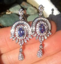 1.9ct natural earth mined VVS Tanzanite accent stone CZ Sterling Silver Earrings