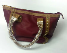 WOMENS BAG RED BROWN STUDDED LEATHER UK FAST POSTAGE NEW  QUILTED