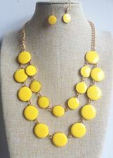 50's 60's vintage yellow Round Pendant Gold Plated Enamel Necklace Earrings